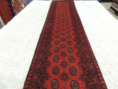 Afghan Hand Knotted Turkman Runner 577cm x 78cm