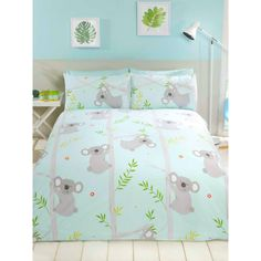 This Koala Fun Single Duvet Cover Set features adorable koalas on a pretty aqua blue background and is made from a polycotton blend. Free UK delivery available