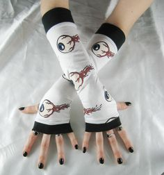 Eyeball Arm Warmers Fingerless gloves freaky horror by Mellode