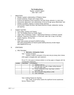 Dance Lesson Plan Template Inspirational the Wedding Dance Lesson Plan Grammar Lesson Plans, Pe Lesson Plans, Lesson Plan Sample, Daily Lesson Plan, Grammar Lessons, Lesson Plan Templates, Graduation Announcement Template, Sentence Stems, Literary Elements