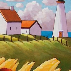 Red poppies, yellow grasses, blue ocean and cottage lighthouse, you can own this one of a kind painting, featuring vibrant colors and an abstract folk style that is unique to this original art piece.  ____________________________________________________________    TITLE: Abstract Sea Breeze Poppies    SIZE: 16 x 20    MEDIUM: Acrylic paint on stretched canvas    STYLE: Abstract Folk Impressionism    SUBJECT: Landscape    DETAILS: Painting has staple-free sides, the sides have been painted so…