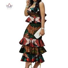 Online Shop Fashion Multilayer Draped Print Top & Skirt Sets Bazin Riche African Wax Dresses for Women 2 Pieces Skirts Sets Clothing African Print Dresses, African Dresses For Women, African Print Fashion, African Wear, African Attire, African Fashion Dresses, African Women, African Clothes, African Traditional Dresses