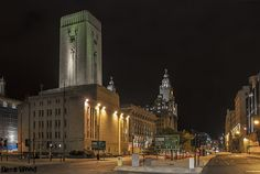George's Dock Ventilation and Control Station, Pier Head in the foreground and Royal Liver Building in the background.