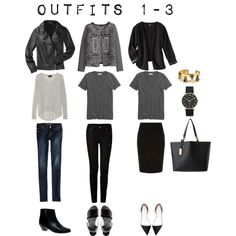 "MINIMAL + CLASSIC: ""Outfits 1-3 from the 5 Piece Item French Wardrobe"" by designismymuse"
