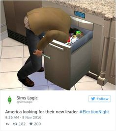 O gosh this is wut i did when i found out that Trump had been elected. Sims Memes, Funny Memes, Jokes, Sims Humor, The Sims, Sims 3, Sim Fails, Sims Glitches, Funny Cute