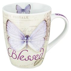 """Butterfly Blessings Purple """"Blessed"""" Mug - Jeremiah 17:7   Christian Art Gifts"""