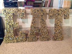 Shell casing & bullet crafts hot glue empty shells to wood letters. Accept can make any word for a man cave decoration. Bullet Casing Crafts, Bullet Crafts, Gun Shell Crafts, Ammo Art, Beach Shower Curtains, Bullet Shell, Bullet Art, Shell Decorations, Kitchen Window Treatments