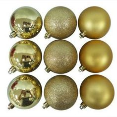 Home Accents Holiday Christmas Ornament (18-Pack)-GB-7018-GOLD at The Home Depot