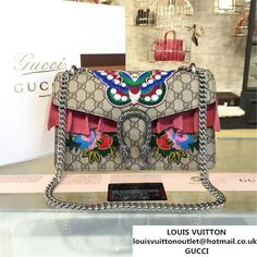 09ccae416d4 Gucci Dionysus GG Supreme Butterfly Flower Embroidery Canvas Shoulder  Medium Bag Sequin Appliqu Fall Winter 2016 Collection Beige