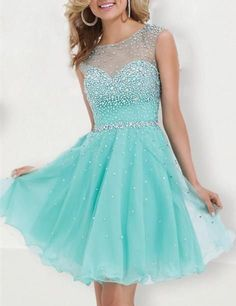 Mint Green Tulle Homecoming Dresses, Princess Short Backless Prom Dress ,Open Back Beaded Formal Dress