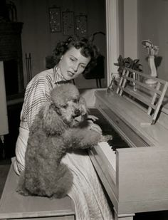 Actress Betty White and her poodle>Vintage Photo