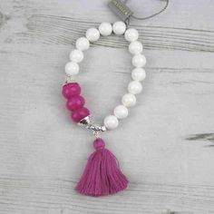 Pranella Pink & White Bracelet With Pink Tassel Available At Pink Cadillac Fashion Boutique Instore And Online www.pinkcadillac.co.uk