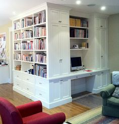 This custom built-in bookcase and desk is part of a casual kitchen/family room area.  Wesley Ellen works directly with homeowners designing and providing custom and modular modern, contemporary and traditional cabinetry throughout Canada and the United States  www.wesleyellen.ca