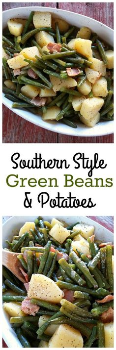Southern Style Green Beans Potatoes cooked low and slow (recipe includes both stove-top and crock pot instructions) recipes potatoes Recetas Crock Pot, Crock Pot Recipes, Crock Pot Cooking, Side Dish Recipes, Potato Recipes, Slow Cooker Recipes, Cooking Recipes, Healthy Recipes, Chicken Recipes