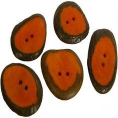 Set of 5 Small Orange Tagua Sliced Buttons from Ecuador Handmade Fair Trade.