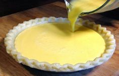 INGREDIENTS - For the pie: 1 large lemon 4 large eggs ½ cup butter, melted 1 teaspoon vanilla cups sugar 1 inch) piecrust, unbaked (I used a frozen deep dish) - For the topping: (optional) 1 cup whipping cream 2 Tablespoons sugar INSTRUCTIONS Take your Lemon Pie Recipe, Lemon Dessert Recipes, Lemon Recipes, Pie Recipes, Cooking Recipes, Yummy Treats, Yummy Food, Fun Food, Delicious Recipes