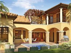 room under 2nd story deck mediterranean | Mediterranean House Plans : DHSW53146