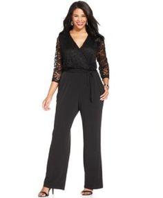0da9f5ac887 NY Collection black lacy wide leg romper jumpsuit w  belt