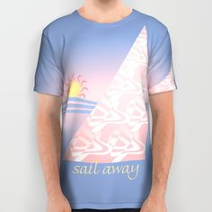 Original sailing poster inspired by Pantone Colors of the year 2016 Rose Quartz & Serenity, with the wind filling a billowing pink sail, waves of blue, and the sun setting (or rising) in a pink glow in the sky and on the water.