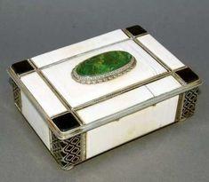 Antique Art Deco Ivory Enamel Turquoise Box
