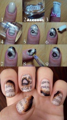 Surprise your friends with this unique burnt newspaper nail design. #newspapernails #nailart: