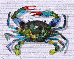 Blue crab made from torn magazines on white paper background of crab related words and sentences, by Deborah Shapiro Paper Collage Art, Collage Artists, Paper Art, Magazine Crafts, Magazine Art, Mixed Media Canvas, Mixed Media Collage, Crab Art, Collage Techniques