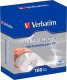 Verbatim - CD/DVD Paper Sleeves with Clear Window (100-Pack) - White