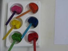 Paint Pops:  Making painting fun using frozen paint on a pop stick. Create endless paintings as the paint melts.