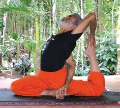 I'm always inspired and learn so much yoga from Sri Dharma Mittra in NYC, here relaxing in pigeon