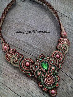 Elegant Soutache Oriental Necklace- Soutache Green Terracotta Brown Necklace…