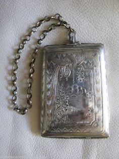 Antique Nouveau Peacock Silver Metal Compact