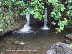 A pair of small springs or mini waterfalls going into a pool next to the ocean