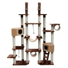 """Kitty Mansions 75-92"""" Rome Cat Tree in Brown and Beige"""