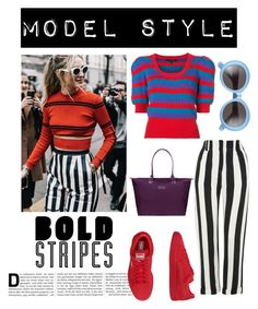 """bold stripes"" by im-karla-with-a-k on Polyvore featuring Topshop, Marc Jacobs, Gentle Monster, Puma and Lipault"