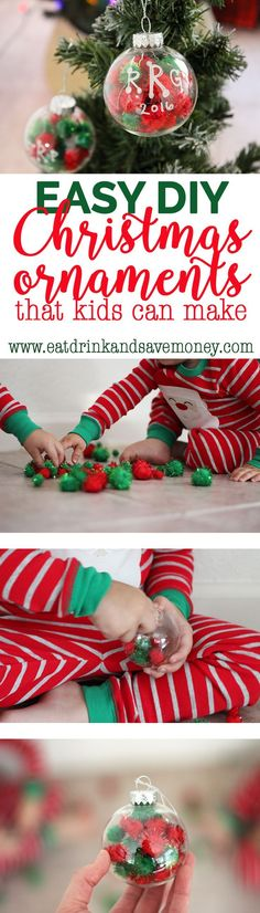 You've got to check out this easy DIY Christmas ornament that kids can make. These sensory ornaments are super easy and tons of fun to make with toddlers and preschoolers. Easy DIY Ornaments that Kids Can Make eatdrinkandsavemo...