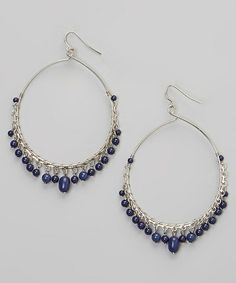 Silver & Blue Dangles Drop Hoop Earrings