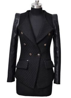 Black Contrast Leather Long Sleeve Pockets Coat  on shechic.com, new sign up 10% off