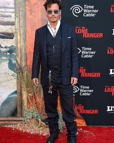"""Johnny Depp arrives at the premiere of """"The Lone Ranger"""" in California. Time Warner, The Lone Ranger, Celebrity Red Carpet, Johnny Depp, Film Festival, Celebrities, People, Movie Posters, Fictional Characters"""