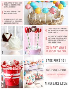 Blogpost: Cake Pops 101: Tips, Tricks & Great Ideas on how to display your cake pops! - mini cupcake stands, easter nests etc. Hop over on the blog =)