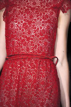 a new take on fine lace: Red dress, Valentino, Spring 2012 rtw