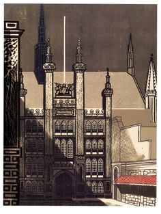 Edward Bawden Linocut of the Guildhall