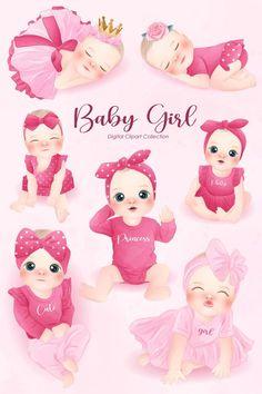 Baby Shawer, Cute Baby Girl, Cute Babies, Cute Girls, Baby Shower Clipart, Pinturas Disney, Baby Frame, Baby Clip Art, Cute Mermaid