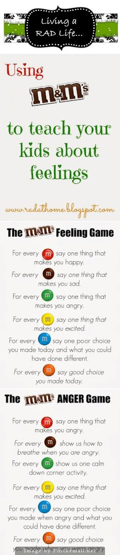 M&Ms Feelings Games- I've made two versions of the M&M Game, the first one focuses on general feelings and the second focuses on feeling Angry and calming down. You can either print a game board for the group to share or print mini boards so each person h Feelings Games, Feelings Activities, Counseling Activities, Feelings And Emotions, Therapy Activities, Social Emotional Activities, Coping Skills, Social Skills, School Social Work