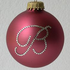 "merry & bright in glittery pink ♥ .. X ღɱɧღ || ""B is for Bobby"" ❤️ Rose Pink Fine Monogram Ornament"