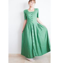 Vintage Dirndl Dress  Forest Green Dress  Elf Dress by MjauVintage