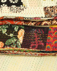 Delicious New Indian Vintage Hand Made Kantha Quilt Rama Home & Garden