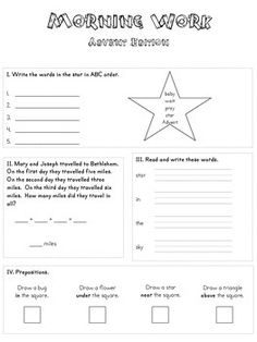 Advent Morning Work Packet Advent Themes, Advent Activities, Catholic Feast Days, Catholic Kids, Ordering Numbers, Prepositions, Morning Work, Word Problems, Teacher Newsletter