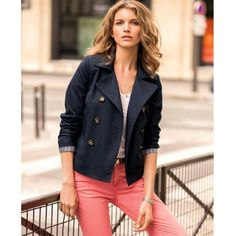 Pure Cotton Double-Breasted Swing Jacket