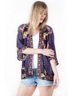 Rapsu Purple Elephant Kimono Cardigan