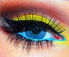 Blue and yellow eye make up
